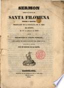 Sermón sobre el culto de Santa Filomena Virgen y Martir, predicado en la Basilica de S. Siro de Génova el 17 de febrero de 1835 por el Presbitero D. Felipe Storage, traducido al español por un devoto de la Santa