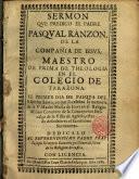 Sermón que predicó el P. Pasqual Ranzon S. J. el Primer dia de Pascua del Espiritu Santo, en que se celebra la memoria de la V. Madre María de Jesus en el Convento de la Concepción Descalza de la Villa de Agreda