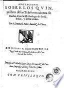 Anotaciones sobre los quinze libros de las Tra[n]sformaciones de Ouidio