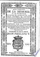 Antidoto de la memoria y la verdad contra el veneno de la falsa doctrina de natural oposicion que entre España y Francia ha publicado la oposicion de las naciones, etc