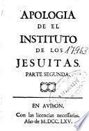 Apologia de el Instituto de los jesuitas