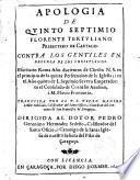 Apología de Quinto Septimio Floreste Tertuliano, presbytero de Cartago