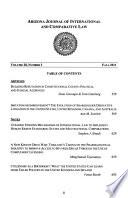 Arizona Journal of International and Comparative Law