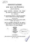 Confutacion de los señores, abate Hervás, sobre supuesta intrusion del Obispo de Cuenca en pueblos de la órden de Santiago