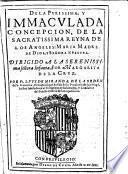 De la purissima y inmaculada concepción de la sacratissima reyna de los ángeles