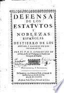 Defensa de los estatutos, y noblezas españolas