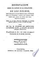 Dissertacion sobre el origen de la esclavitud de los Negros, publicada en 1811