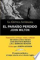El Paraiso Perdido de John Milton, Coleccion La Critica Literaria Por El Celebre Critico Literario Juan Bautista Bergua, Ediciones Ibericas