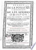 Examen de la potestad y jurisdicion de los señores obispos