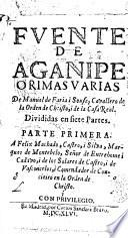 Fvente de Aganipe, o, Rimas varias