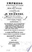 Impreso ... que comprehende los acontecimientos de los tres meses anteriores, ocurridos en la América meridional, y el Brasil [&c.]. Tr. por P.F. de Cavia