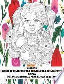 Libros de colorear para adultos para adolescentes - Diseños de animales para aliviar el estrés - Animal - Conejito