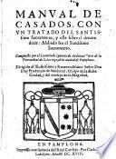 Manual de casados, con un tratado del santissimo sacramento etc