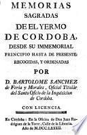 Memorias sagradas de el yermo de Córdoba