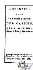 Novenario de la Sacratisima Virgen del Carmen, Maria Santisima, Madre de Dios y Sra. nuestra