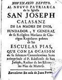 Novenario devoto al nuevo patriarca de la iglesia San Joseph Calasanz de la madre de Dios ...