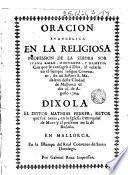 Oracion evangelica en la religiosa profession de la Señora Sor Iuana Amar, Montaner, y Dameto