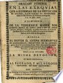 Oracion Funebre en las Exequias,que a expensas de la devocion de muchos,consagro el Reverendo Clero de San Salvador de Valencia en su Iglesia à 2.de Julio 1696