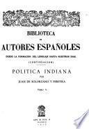 Politica Indiana por Juan de Solorzano y Pereyra