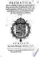 Prematica, de los vestidos y trajes, la qual mandó el Rey nuestro señor se publicasse el año de mil y quinie[n]tos y sesenta y tres