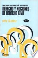 Prontuario de introducción al estudio del derecho y nociones de derecho civil