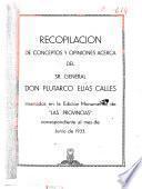 Recopilación de conceptos y opiniones acerca del Sr. general don Plutarco Elías Calles insertados en la edición monumental de Las Provincias correspondiente al mes de junio de 1933