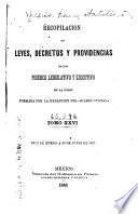 Recopilacion de leyes, decretos y providencias de los poderes legislativo y ejecutivo de la union