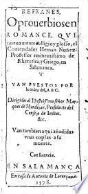 Refranes, e proverbios en Romance, que nueuamente colligio y glosso ... Hernan Nuñez