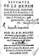 Resumpta de la orden Tercera de Penitencia de N. P. S. Francisco