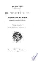 Rondallística, estudi de literatura popular