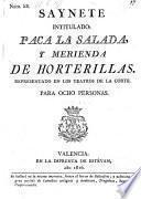 Saynete intitulado: Paca la salada, y merienda de horterillas. (etc.)