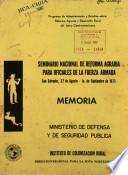 Seminario Nacional de Reforma Agraria para Oficiales de la Fuerza Armada