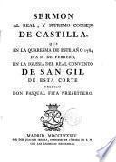 Sermón al Real y Supremo Consejo de Castilla que en la Quaresma de 1784 predicó D. Pasqual Fita ... Pbro