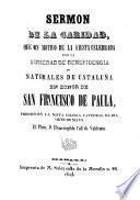 Sermon de la caridad, en honor de S. Francisco de Paula