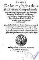 Summa de los mysterios de la fe Christiana