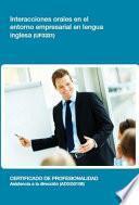 UF0331 - Interacciones orales en el entorno empresarial en lengua inglesa