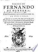 Versos, emendados i divididos por el en tres libros
