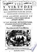 Vida y virtudes de Juan de Avila Predicador Apostolico