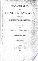 Vocabulario de la lengua aymara
